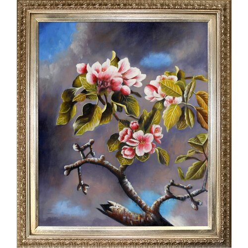 Tori Home Branch of Apple Blossoms Against Cloudy Sky by Martin Johnson Heade Framed Hand ...