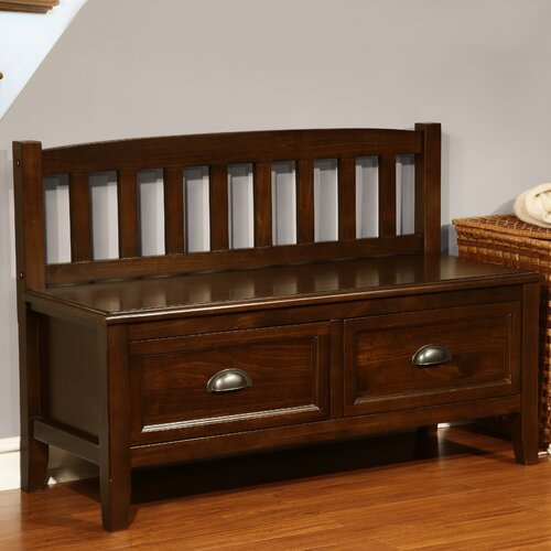 Foyer Bench With Drawers : Simpli home burlington wood storage entryway bench
