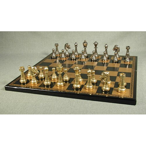Staunton Metal on Leather Chess Board
