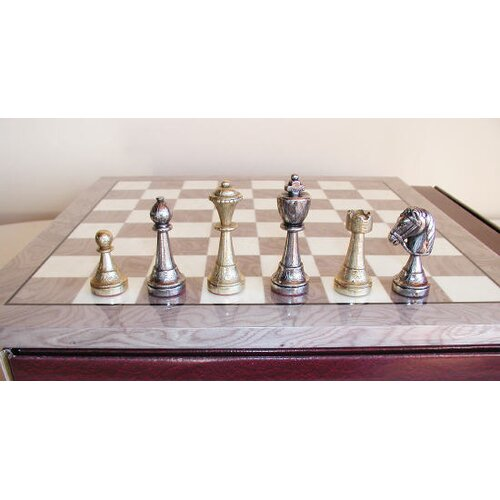 Staunton Metal on Grey Wood Chess Board