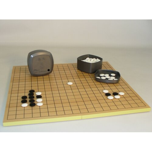 "Play All Day Games 0.28"" Stone Go Set with Slotted Chess Board"