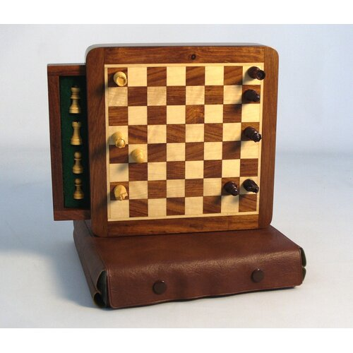 Wood Magnetic Chess Set with Drawer