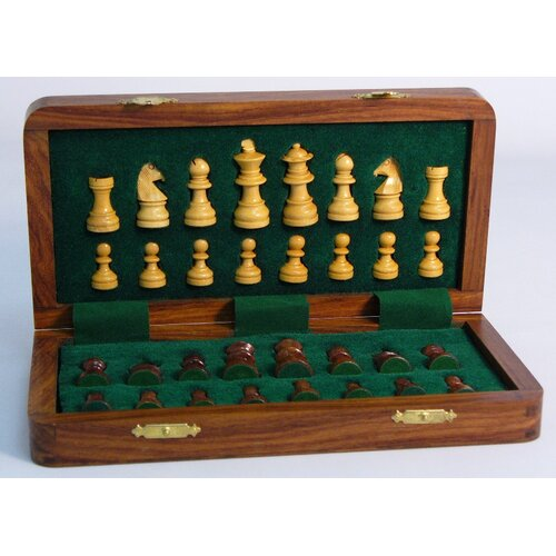 "Pleasantime 10"" Folding Wood Magnetic Chess Set"