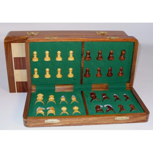 "Pleasantime 16"" Folding Wood Magnetic Chess Set"