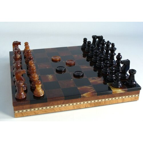Alabaster Inlaid Chest Chess Set in Black / Brown