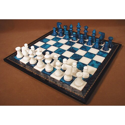 Alabaster Wood Frame Chess Set in Blue / White