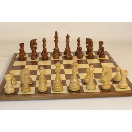 WorldWise Chess Traditional Russian on Walnut Chess Board