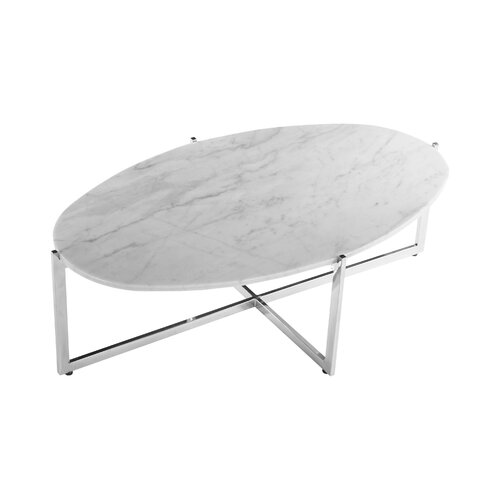 Dcor design oval marble coffee table reviews wayfair for Wayfair oval coffee table