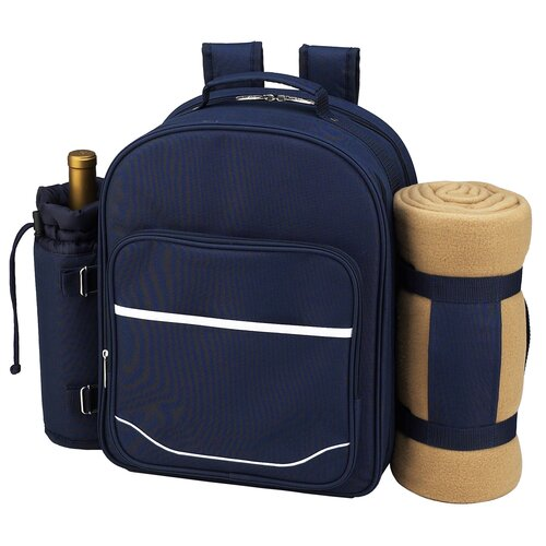 Picnic At Ascot Trellis Picnic Backpack with Blanket for Four Place Setting