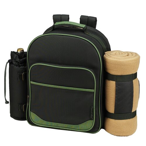 Trellis Picnic Backpack with Blanket for Two Place Setting