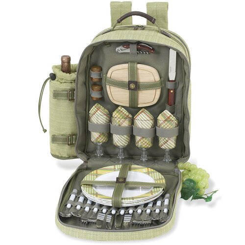Picnic At Ascot Hamptons Picnic Backpack with Four Place Settings