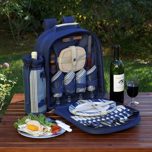 Aegean Picnic Backpack with Four Place Settings