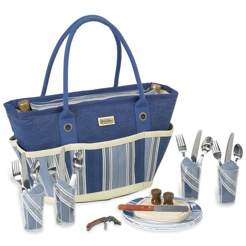 Aegean Picnic Basket Tote with Four Place Settings