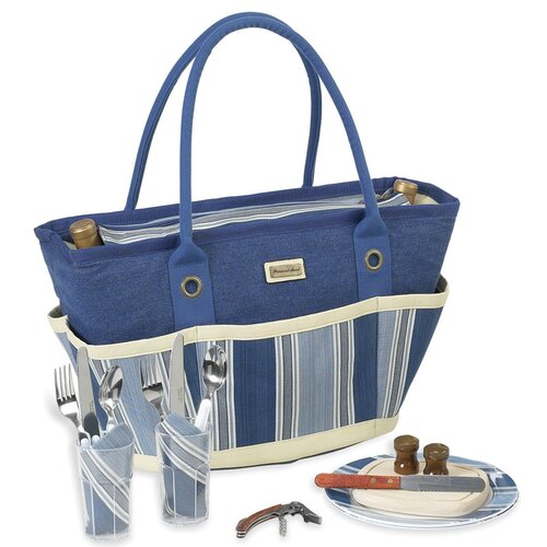 Aegean Picnic Basket Tote with Two Place Settings