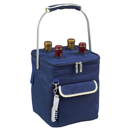 Picnic At Ascot Aegean Four Bottle Carrier in Blue and Cream