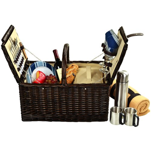 Picnic At Ascot Surrey Picnic Basket  with Blanket and Coffee Flask for Two