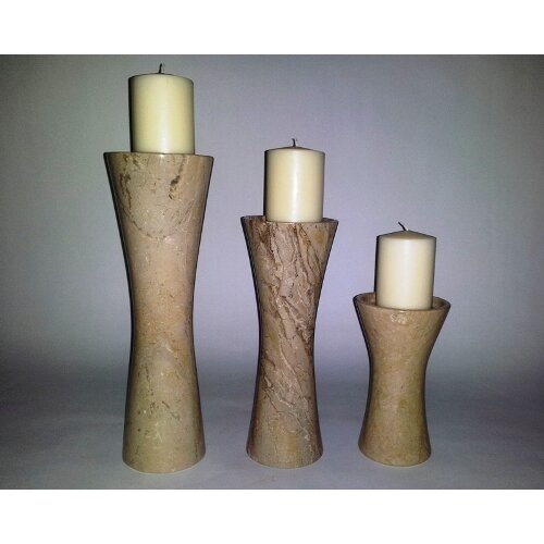 Nature Home Decor 3 Piece Sahara Beige Marble Candle Holder Set
