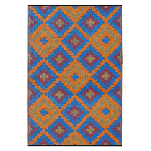 World Saman Blue/Orange Indoor/Outdoor Rug