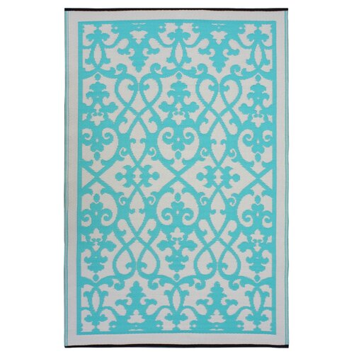 Fab Rugs World Venice Gray & Turquoise Indoor Outdoor Area