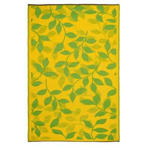 Fab Rugs World Bali Lemon Yellow/Moss Green Indoor/Outdoor Rug