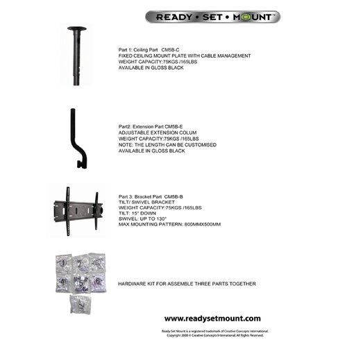 "Ready Set Mount Tilt/Swivel Ceiling Mount for 37"" - 60"" LCD/Plasma"
