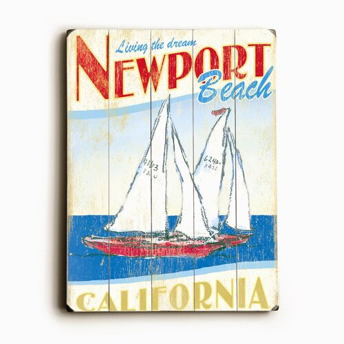 Artehouse LLC Sailboats Planked Vintage Advertisement Plaque