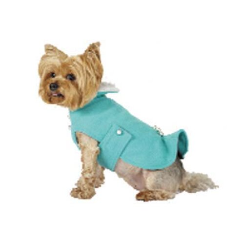 Kick Pleat Dog Coat with Faux Fur Collar