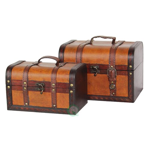 Quickway Imports Decorative Leather Treasure Box (2 Piece Set)