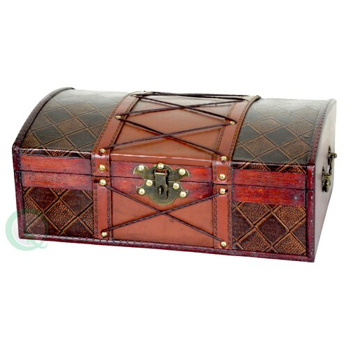 Pirate Treasure Chest in Antique Cherry with Leather X