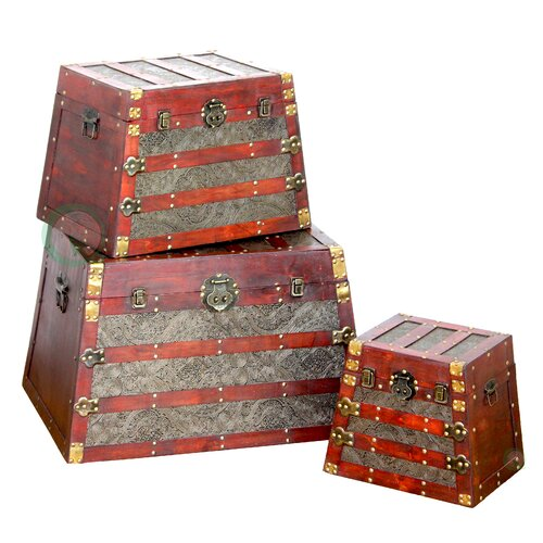 Quickway Imports Pyramid Trunk 3 Piece Set