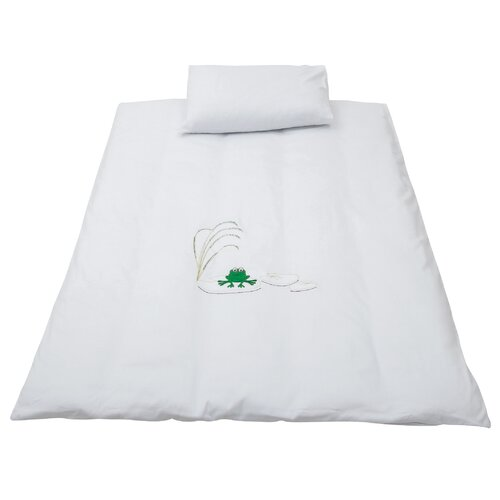 Baroo White Lily Pad Friends Cotbed Duvet Cover and Pillowcase Set