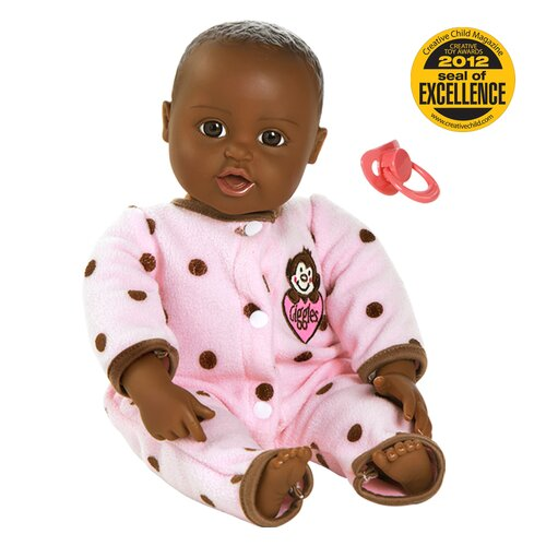 "Charisma Dolls Adora ""Giggle Time Baby"" Doll with Dark Skin Tone/Black Hair/Brown Eyes"