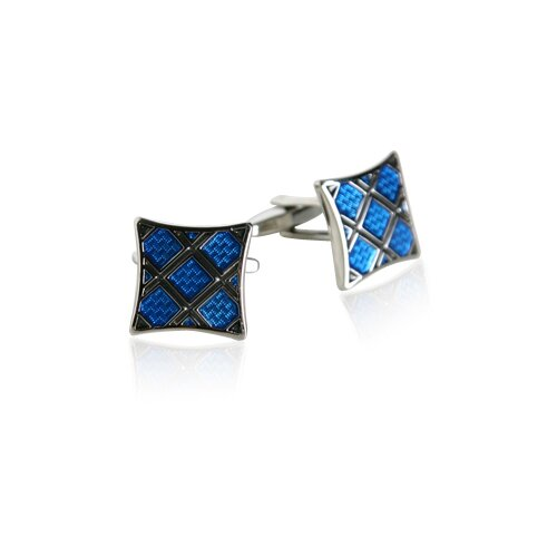 Plaid Cufflinks in Blue