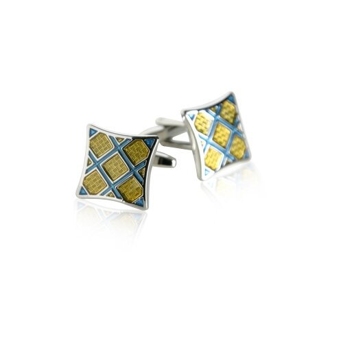 Cuff-Daddy Plaid Cufflinks in Yellow / Blue