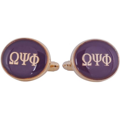 Omega Psi Phi Cufflinks in Purple / Gold