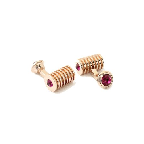 Rose Gold Fuchsia Crystal Barrel Cufflinks