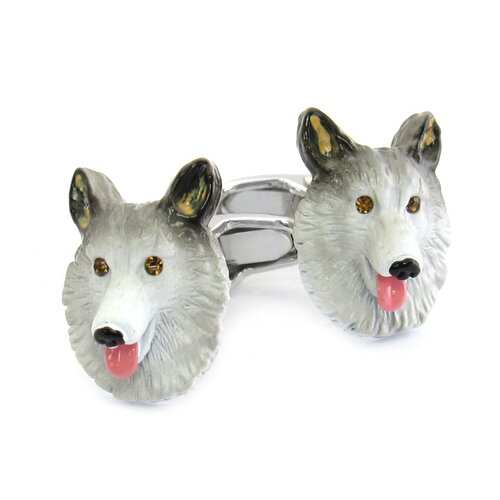 Cuff-Daddy Swarovski Crystal Sable Collie Cufflinks