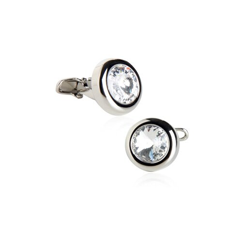 Austrian Crystal Solitare Cufflinks in Clear
