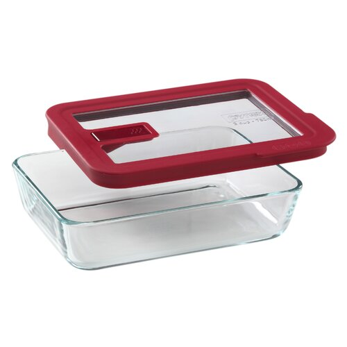 Pyrex No Leak Lids 3-Cup Rectangular Storage Dish