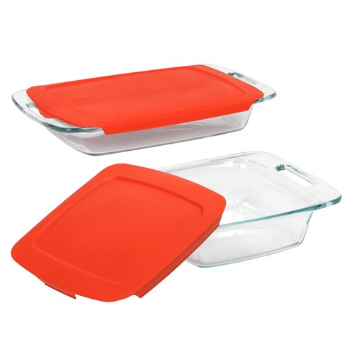 Easy Grab 4 Piece Bakeware Set with Plastic Cover