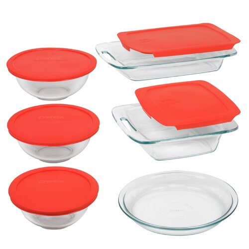 Pyrex Easy Grab 11 Piece Bakeware Set with Plastic Cover