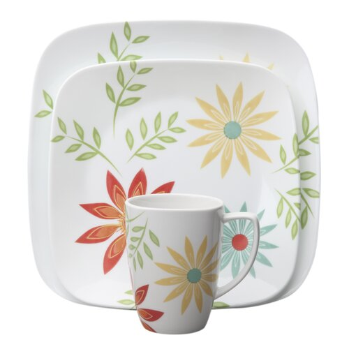 Corelle Square Happy Days 16 Piece Dinnerware Set