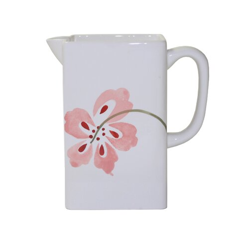 Corelle Coordinates Pretty Pink Ceramic Pitcher in Pink and White