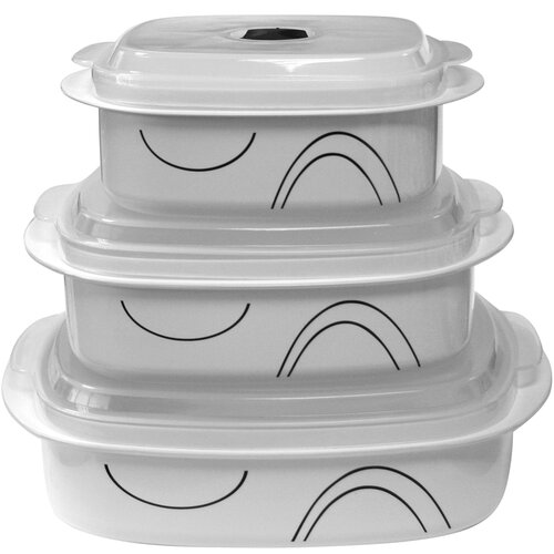Corelle Coordinates Microwave Cookware and Storage Set with Simple Lines Design