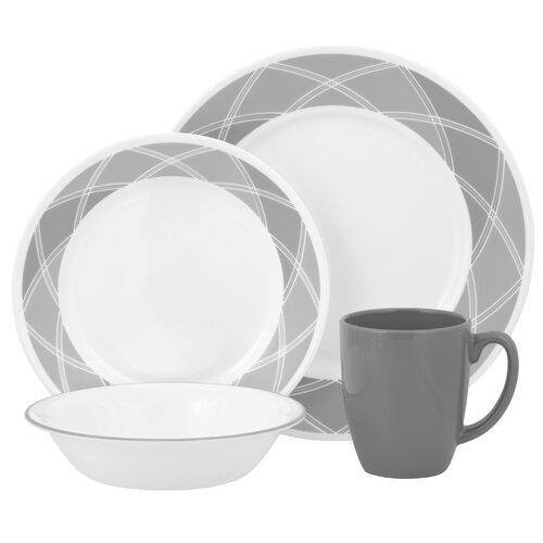 Corelle Vive Savvy Shades Grey 16 Piece Dinnerware Set