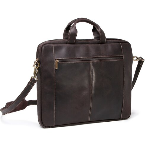Slim Distressed Leather Laptop Briefcase