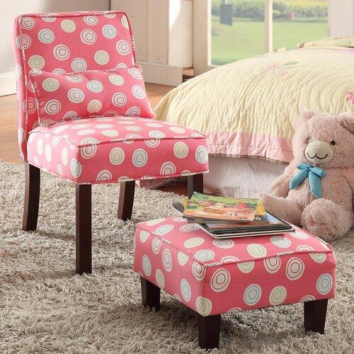 Juvenile Kids Slipper Chair and Ottoman