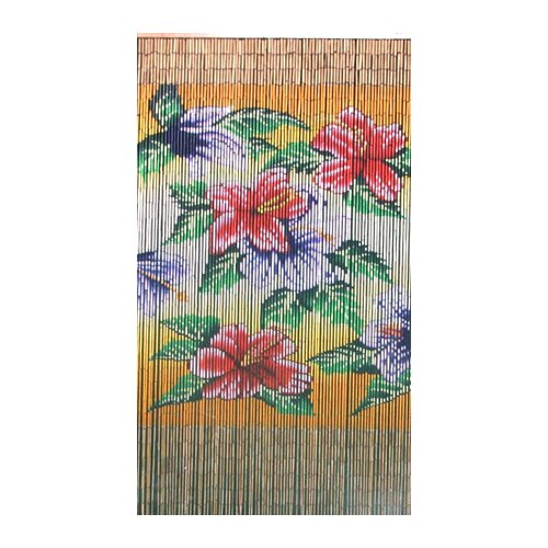 Bamboo54 Natural Bamboo Tropical Flowers Curtain Single Panel