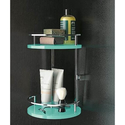 Toscanaluce by Nameeks Two-Tier Shower Corner Tray with Railings