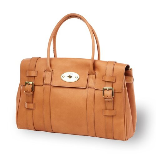 Clava Leather Turnlock Buckle Tote Bag